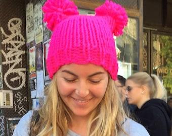 Neon Pom-Pom Hat