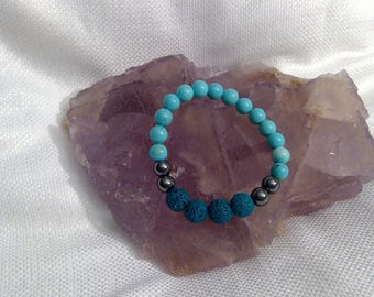"Diffuser bracelet: Genuine Crystal Turquoise & Lava Rock Bracelet 6.35"" (0327)"