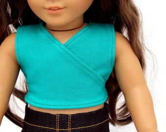 SAMPLE SALE - Fits like American Girl Doll Clothes - Crossover Crop Tank Top in Jade