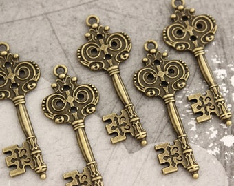 10 pcs Antique Brass Double sided skeleton Key Charm