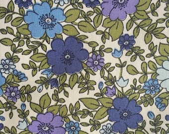 Blue floral Rose and Hubble  100% cotton poplin fabric UK