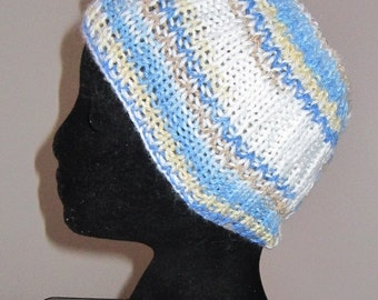 The  Wide Blue Yoga Hairband / Knit Headband / Hair Accessory with Motif