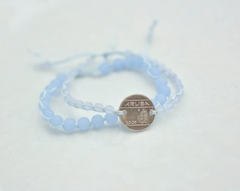 Bracelet set blue aruba coin