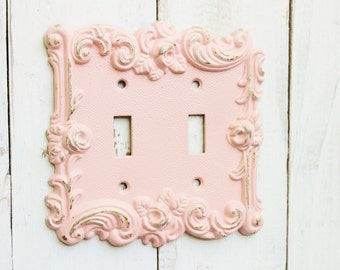 Spring Sale PINK , Light Switch Cover , Shabby Chic Light Switch Cover / Light Plate, Double Light Switch , Shabby Chic Nursery