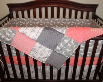 Baby Girl Crib Bedding - White Gray Arrows, Gray Deer, Coral, and Gray Crib Bedding Ensemble with Blanket or Patchwork Blanket