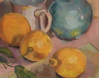 LemonThreeSome, Original Oil Painting by Bridget Hobson, 8x8 inch, free domestic shipping