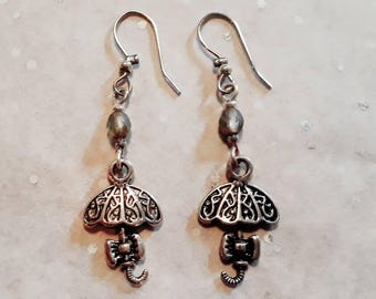 Earrings Baby It's raining, silver earrings with umbrella, small bow and glass bead, handmade
