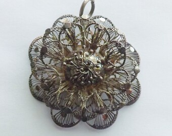 Vintage silver filigree cannetille flower pendant 3 dimensional layered floral jewelry stocking stuffer gift for her