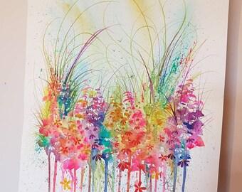 Fresh. Original flower meadow watercolour painting.