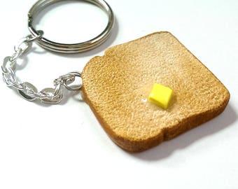 Buttered Toast Keychain, Food Jewelry, Food Charms, Bread Keychain, Cool Keychain, Cute keychain, studio ghibli