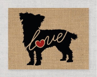 Terrier / Poodle / Yorkie / Schnoodle - Mix Breed Mutt Love - Burlap Wall Art Gift for Dog Lovers - Personalize w/ Name - More Breeds (101s)
