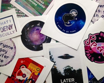 "Queer Sci-Fi Stickers (3"" x 3"") Queer Trans Nonbinary Sci-Fi Outer Space Gay Stickers"