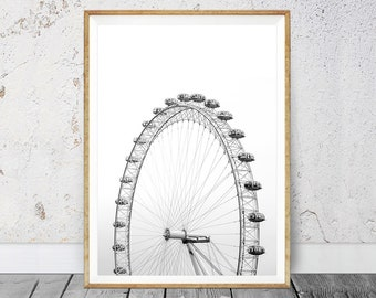 Ferris Wheel Print, Ferris Wheel Decor, Minimalist Poster, Carnival Wall Print, Wall Pictures, Carnival Wall Decor, Digital Art Print, Wheel