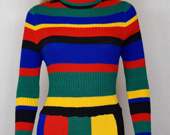 Vintage 1970's World Knits Women's Rainbow PaTcHwOrK Striped Color Block HiPPiE MOD Knit Sweater Maxi Dress