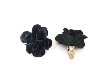 Dark green fabric tassel