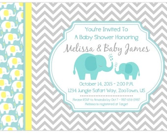 Mod Elephant Baby Shower Invitation, CUSTOM for you - 4x6 or 5x7 size - YOU PRINT - mod elephant with teal and yellow