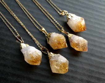 Citrine Necklace Citrine Pendant Citrine Jewelry Raw Rough Gold Dipped Citrine Crystal Necklace Orange Stone Pendant November Birthstone