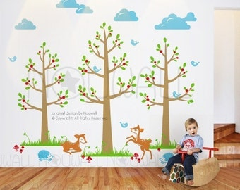 Black Friday Etsy -  free shipping  -Tree Wall decals Wall stickers Children Decal deer decal - 096