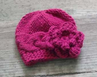 Knit Baby Hat , Baby girl Hat , Newborn Hat Baby Hat girl hat with crochet flower Girl Outfit , Photo Prop hat , Knit Hat fuchsia flower hat