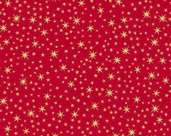 Stars Red Gold Metallic Holiday Metals Quilting Treasures Fabric 1 yard