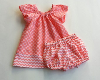 Baby Girls Coral Dress and Bloomers Outfit - Orange and White Flutter Sleeve Dress - Baby Girls Layette - Size Nb, 3m, 6m, 9m, 12m or 18m