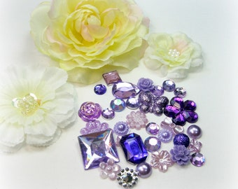 30-piece Bag of Purple Violet Rhinestones Cabochons Acrylic Pearl Resin Flat back Embellishments For Scrapbooking Mini Albums Cards