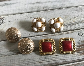 Vintage gold tone clip on earring lot Sarah Coventry clip on red enamel clip on earrings white and gold clip on earrings junk drawer lot