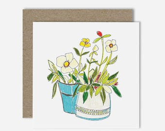 Two Pots / Floral Illustration Greeting Card