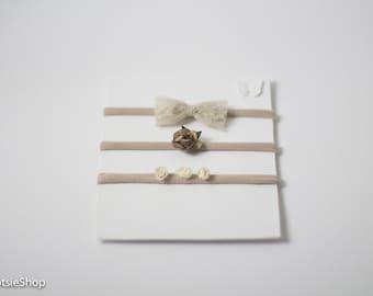 Brown Ivory Latte Headbands Set, Bow Headband, Baby Headband, Newborn Headband, Flower Headband, Girl Headband, Lace Headband