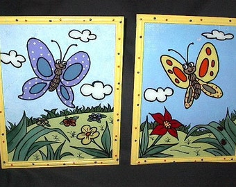 Pair of BUTTERFLIES - Framed - HAND PAINTED / Reverse Painting on Glass