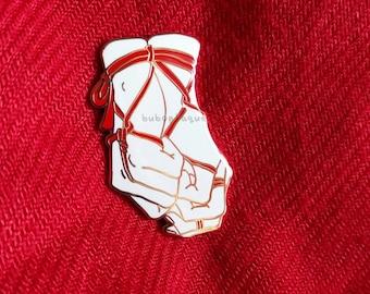 Shibari hands enamel pin