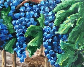 Sonoma Harvest Original Acrylic Painting/Ripe Red Wine Grapes/Kitchen Decor Art