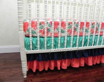Custom Bumperless Crib Bedding - Baby Girl Crib Bedding, Coral Baby Bedding, Crib Sheet, Ruffle Crib Skirt