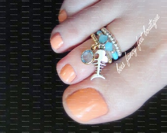 Stacking Toe Ring, Stacking Rings, Silver Fish Charm Ring, Blue Jade Crystal Ring, Blue Crystal Charm Ring, Stretch Bead Toe Rings
