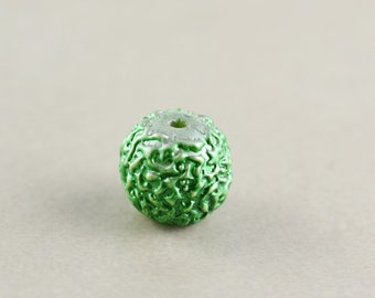 Green Vintage Bead, Textured Glass Bead, 12mm Focal Bead, One