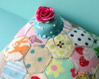 Aqua Shabby Polka Dot Rose Cake Pin Topper