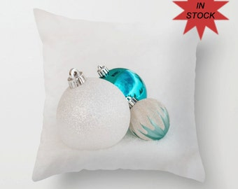 """Turquoise Christmas Pillow Case ~ 16""""x16"""" Holiday Sofa Throw Cushion Cover ~ Festive Winter Home Decor, Snow Themed Accent, Modern Bedroom"""
