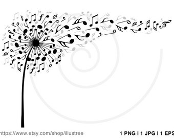 Music flower, digital clip art, dandelion clipart with flying musical notes, printable, wall art, art print, poster, instant download