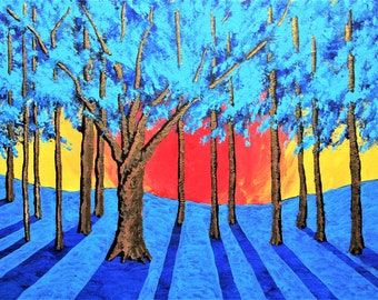 """Twilight Woods (ORIGINAL ACRYLIC PAINTING) 8"""" x 10"""" by Mike Kraus - mother's day trees forest woods gift present nature blue yellow red teal"""