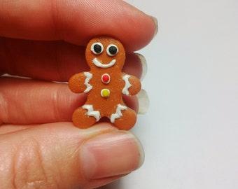 Gingerbread Man Brooch/Badge/Pin, Miniature Food Jewellery