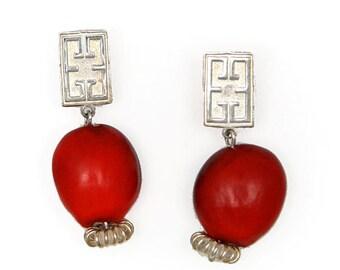 Elegant Red Signature Silver Earrings