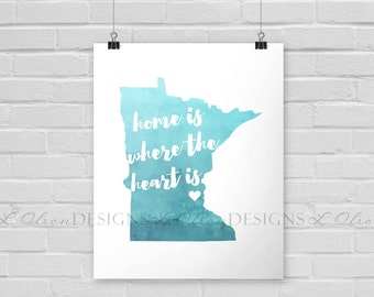 Home is Where The Heart Is Wall Art - Custom ANY State/City ANY Color - 8x10