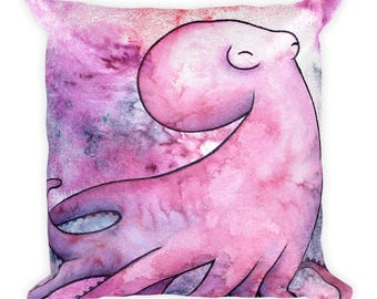 Octopus Galaxy Watercolor - Square Pillow