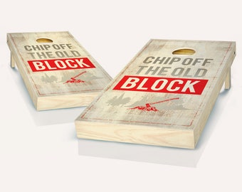Chip Off the Old Block Stained Cornhole Board set!! 8 Bags You Pick Colors!!
