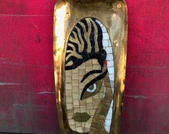 1930s Salvador Teran Hand-forged Brass Tray or Wall Art w/Glass Mosaic Tile & Stylized Mexican Goddess