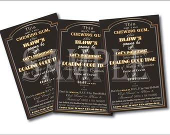 1920s Slang Invitation Printable ~ Art Deco Roaring 20s Black Gold White Open-Face 5 1/2 X 8 1/4 Digital Files ~ Wedding Party Invite & RSVP