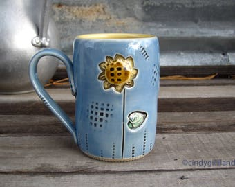 Pottery Mug in Blue with Sunflower - by DirtKicker Pottery