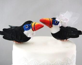 Tropical Toucan Wedding Cake Topper: Paradise Bride & Groom Love Bird Cake Topper