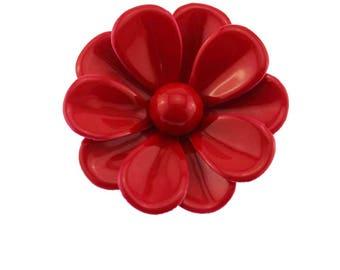 Red Enamel Flower Brooch, Large Red Flower Brooch, Red Enamel Flower Pin, Red Flower Pin