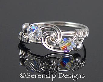 April Birthstone Ring,  Argentium Sterling Silver Twist Ring, Swarovski Crystal Silver Wire Ring